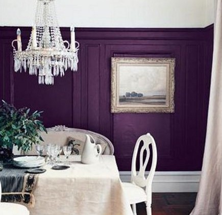 plum purple dining room walls with white trim - flickr via atticmag