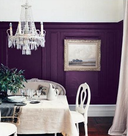 plum purple - bold purple dining room walls with white trim - flickr via Atticmag