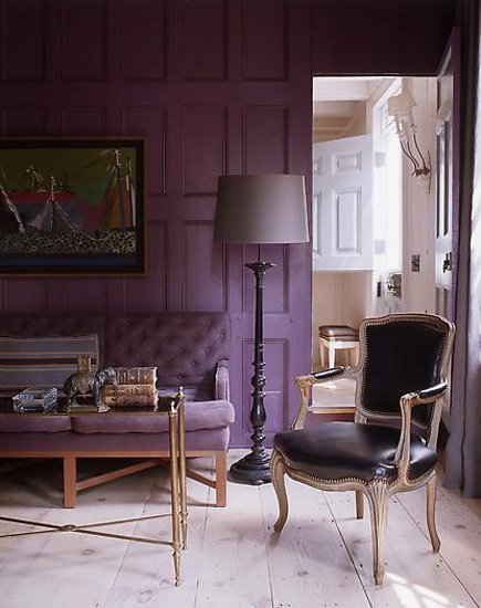 plum purple - sitting room with purple furniture and a white floor - SR Gambrel via Atticmag
