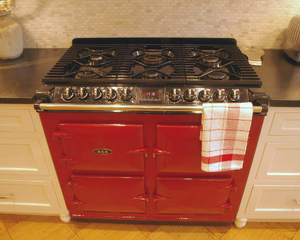 claret red Aga 6-4 dual fuel range