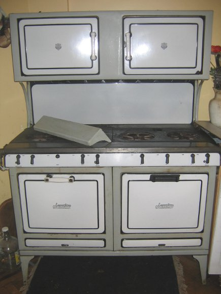 antique Smoothtop cast iron and porcelain enamel stove