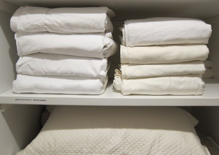 freshly laundered cotton sheets in my linen closet