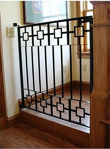 stairway gates - custom eclectic wrought iron staircase safety gate - Martel Fab via Atticmag