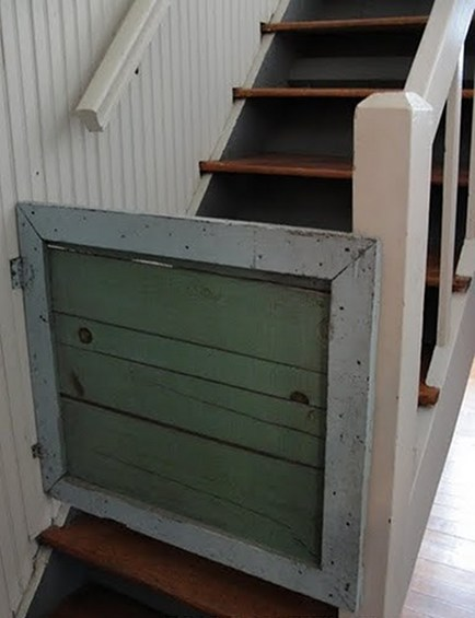 custom rustic painted staircase gate at Rachel Ashwell The Prairie B&B via Atticmag