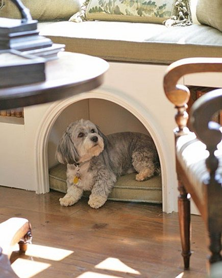 custom built in dog bed with arched opening via Atticmag
