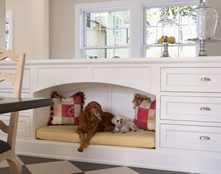 large custom built in dog bed niche with arched opening via Atticmag