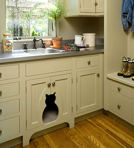 pet built ins - custom base cabinet cat silhouette cut out for hidden litter box -internet  via Atticmag