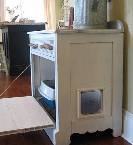pet built ins - vintage chest repurposed into hidden litter box - cat basket via Atticmag