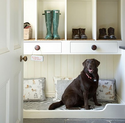 built-in dog bed in mudroom via Atticmag