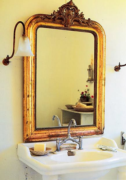 gold leaf French bathroom mirror