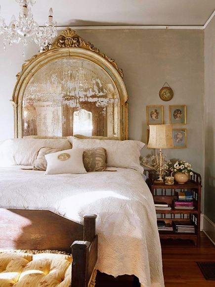 gold leaf mirrors - over sized arched vintage gold mirror used for headboard - this is glamorous via Atticmag