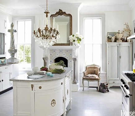 antique gold leaf over mantel mirror in the kitchen