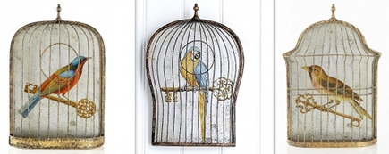 3D bird cage wall decor with mirrored backs