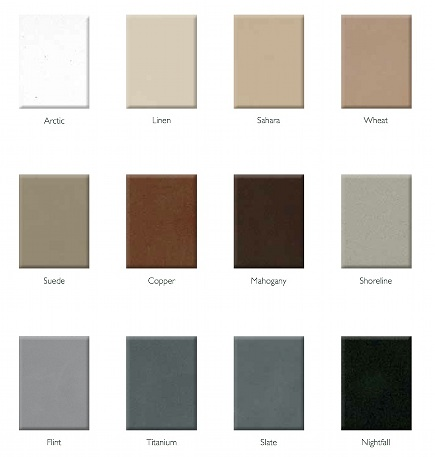 quartz countertops - Elements by Durcon eco-friendly quartz and glass counter color chart - via Atticmag