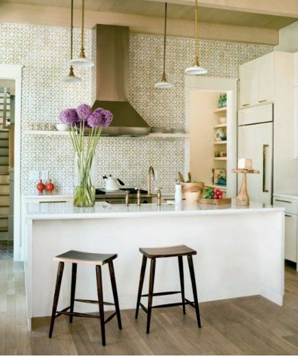 small-scale geometric pattern kitchen tile backsplash