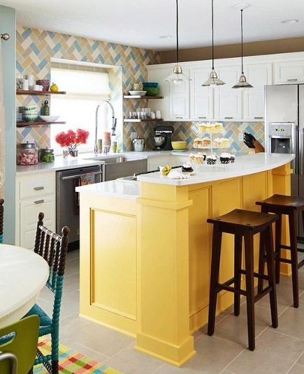 patterned tile - multicolor yellow, taupe, aqua and white herringbone diagonal tile backsplash - BH & G via Atticmag
