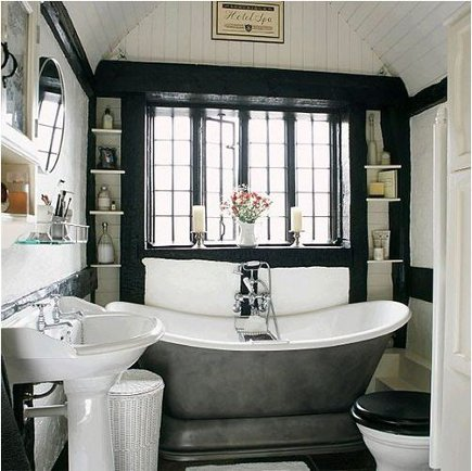 wood paneled bathroom with black painted accents and black casement windows