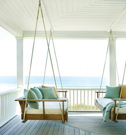 custom swinging porch bed - pinterest via Atticmag