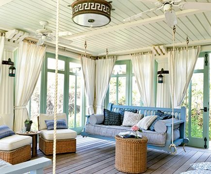 blue painted custom swinging porch beds - My Home Ideas via Atticmag