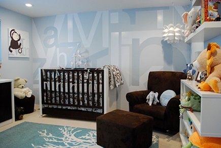 nursery wall designs - custom hand painted alphabet nusery wall mural - Project Nursery via Atticmag