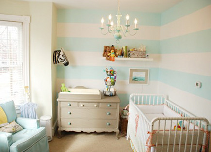 nursery wall designs - hand painted aqua wide horizontal striped nursery walls - Boots and Tooty via Atticmag
