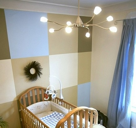 nursery wall designs - hand painted color block nursery wall in beige, cream, taupe and blue - via Atticmag