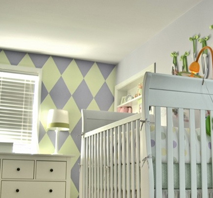 nursery wall designs - custom hand painted harlequin pattern yellow and gray nursery wall -Michael Baird via Atticmag