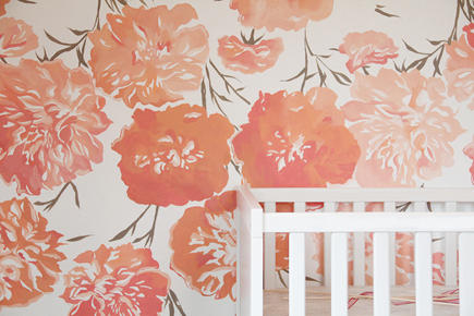 nursery wall designs - custom hand painted peony flower nursery wall - Katie's Pencil Box via Atticmag