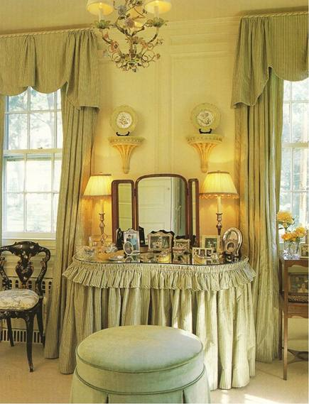 skirted dressing tables - gathered fabric skirted dressing table - Windham House Design via Atticmag