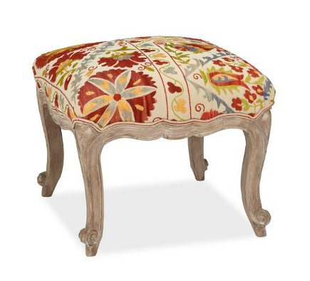 Pottery Barn suzani-upholstered stool