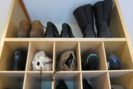 shoe closet - boot shelf above shoe storage bin built in from California Closets - Atticmag