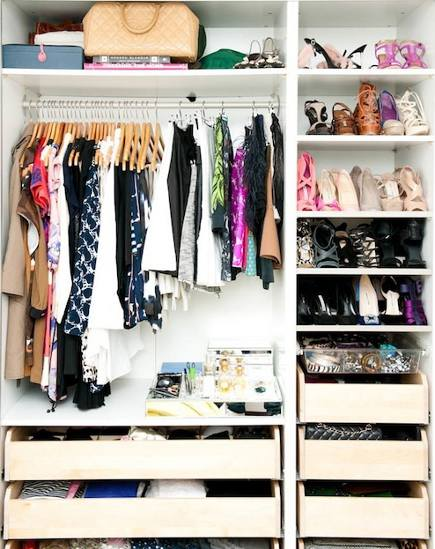 shoe closet - nested shoes stored on flat shelves in a closet - recreate design company via atticmag