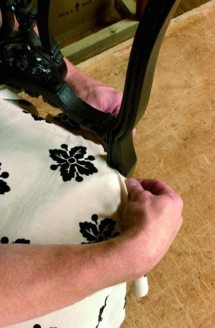 fitting fabric to the seat of a side chair from The Upholsterer's Handbook