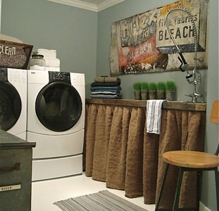 cottage laundry room - with skirted counter - Patina White via Atticmag