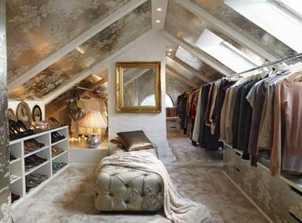 attic space turned into a luxury walk-in closet