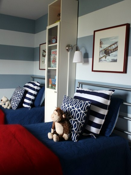 red white and blue boys bedroom with horizontal stripe wall from I Heart Organizing