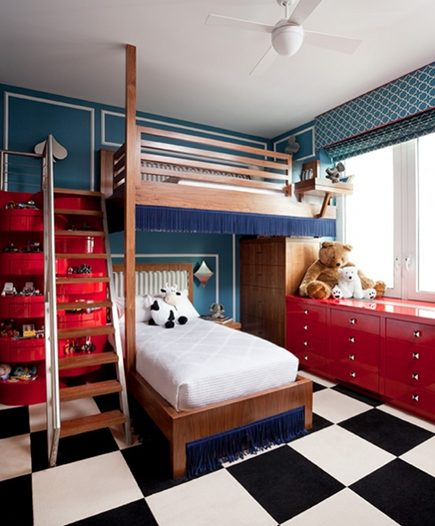 red white and blue bedroom with checkerboard floor by Daun Curry