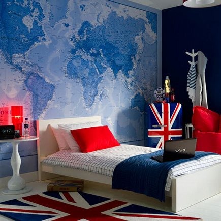 bedroom with blue map wallpaper mural from House to Home UK
