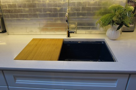 Kohler's Riverby cast iron enameled sink in Annapolis navy