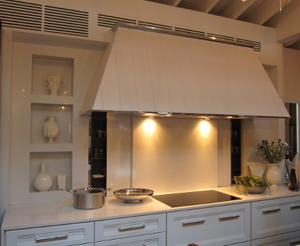 range hood and induction cooktop in Mick De Giulio's Kitchen of the Year for House Beautiful