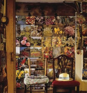 boho walls - wall in and english dower house decorated with magazine pages - WOI via Atticmag