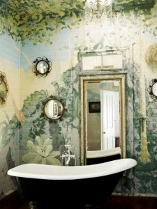 floral mural hand painted on the walls and ceiling of a boho bathroom