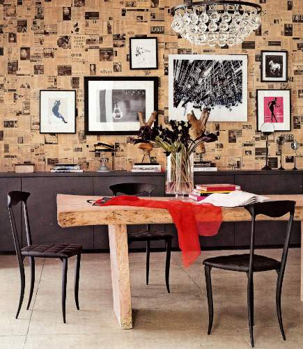 Jason Wu's atelier with newspaper print wallpaper