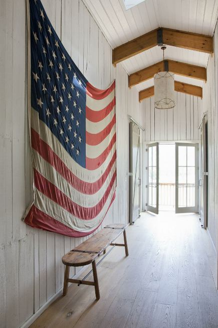 American flag in a rustic house