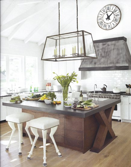 white kitchen with dark wood crossbuck motif island - house beautiful via atticmag