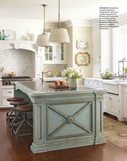 Fresh seafoam green island with crossbuck motif on the side panels kitchen and bath ideas via