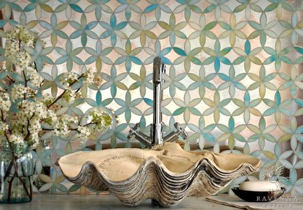 shell vessel sink in front of New Ravenna Mosaics fiona tile
