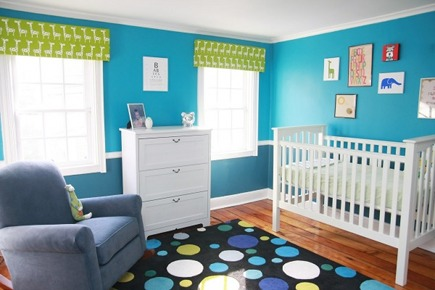 blue and green bedrooms - colorful blue and green nursery by Oh! Apostrophe via Atticmag