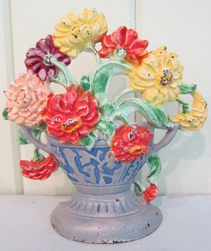 Hubley flower door stops - zinnias doorstop with blue and gray wedgewood style base, number 267 - Atticmag
