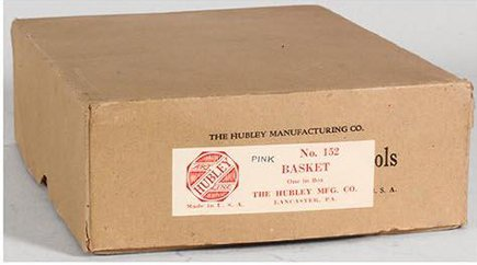 Hubley flower door stops - original Hubley doorstop box with label - Auction Helper via Atticmag